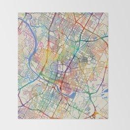 Austin Texas City Map Throw Blanket