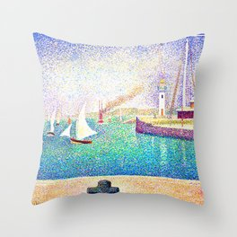 Georges Seurat - Entrance of The Port of Honfleur - Digital Remastered Edition Throw Pillow