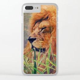 A  Lion portrait Clear iPhone Case