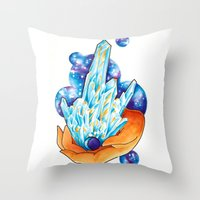 crystals Throw Pillows featuring Crystals by missfortunetattoo