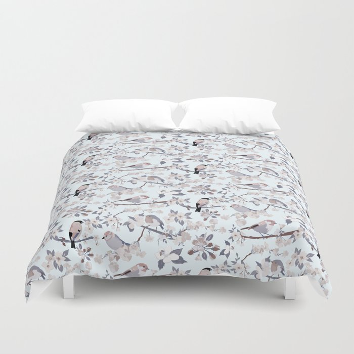 Blossom and Birds Cool Grey Tones Print Duvet Cover