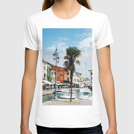 Cute italian harbour with boats   Travel Photography Italy, Lazise   Fine art photo print T-shirt