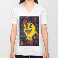 pacman V-neck T-shirts featuring pacman by RaieshaM