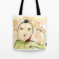 taxi driver Tote Bags featuring Taxi Driver by Wakkala