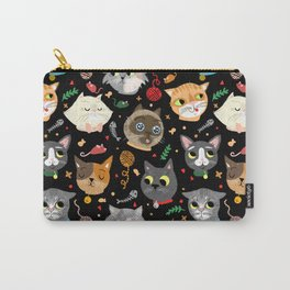 Neighborhood Cats in Black Carry-All Pouch