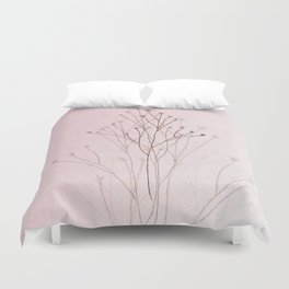 Rose Gold Twigs Duvet Cover