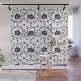 happy hallowen curves and pumkins pattern Wall Mural