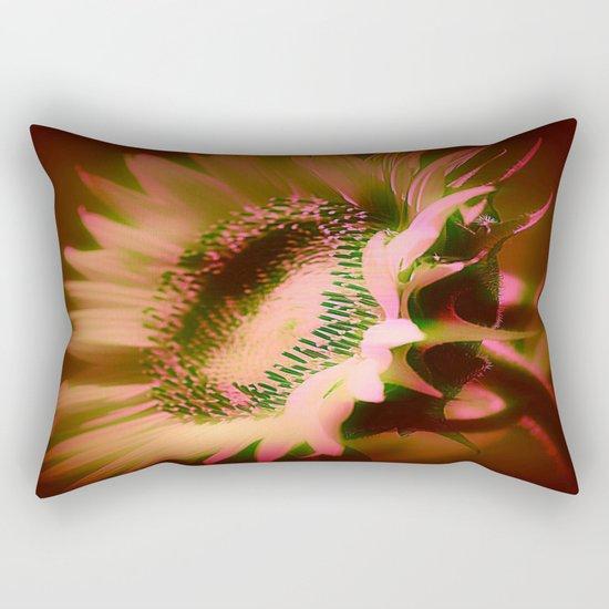 Painterly Glowing Sunflower Rectangular Pillow
