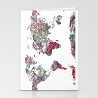 world map Stationery Cards featuring World Map  by MapMapMaps.Watercolors