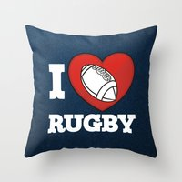 rugby Throw Pillows featuring RUGBY by frail