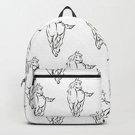 Multiple Horses, Black on white Backpack