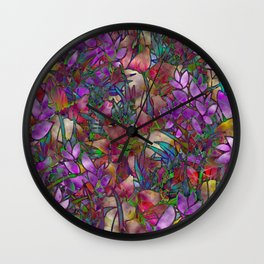 Floral Abstract Stained Glass G175 Wall Clock