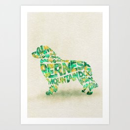 The Bernese Mountain Dog Typography Art / Watercolor Painting Art Print