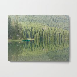 Green water reflection with a boat Metal Print