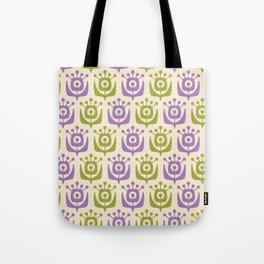 Mid Century Modern Retro Flower Pattern Chartreuse and Lavender 331 Tote Bag