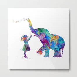 Girl And Elephant Colorful Watercolor Kids Art Metal Print