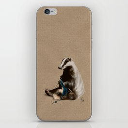 Badger Knitting a Scarf iPhone Skin