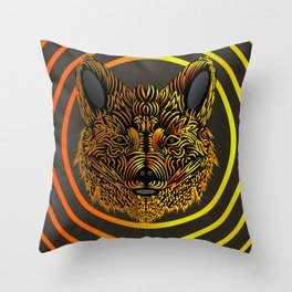 Slychedelic Fox - Psychedelic Poster Throw Pillow