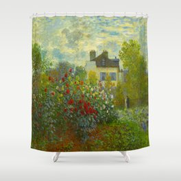 Claude Monet Impressionist Landscape Oil Painting A Corner of the Garden with Dahliass Shower Curtain