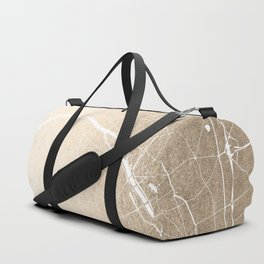 Paris France Minimal Street Map - Gold on White Duffle Bag