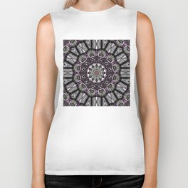 Mandala in black and white with hint of purple and green Biker Tank