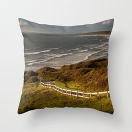 Rhossili bay south Wales Throw Pillow