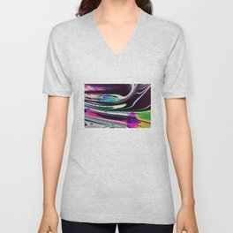 Lines and spots of color abstract digital painting Unisex V-Neck