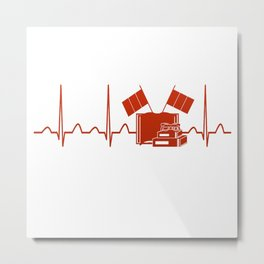 French Teacher Heartbeat Metal Print