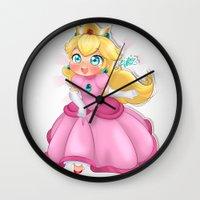 princess peach Wall Clocks featuring Princess Peach by Chimi-uzz