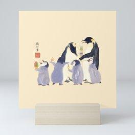 Emperor Penguin Family in the summer of Japan Mini Art Print