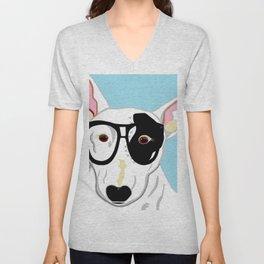 Hipster Bull Terrier Unisex V-Neck