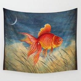 Floating red fish Wall Tapestry