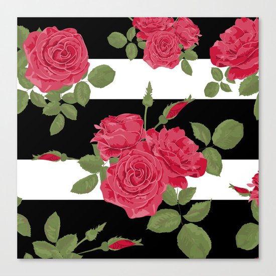 Red roses with horizontal stripes black white Canvas Print