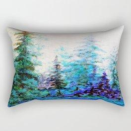 Mountain Landscape Pines In Blue-Greens-Purple Rectangular Pillow