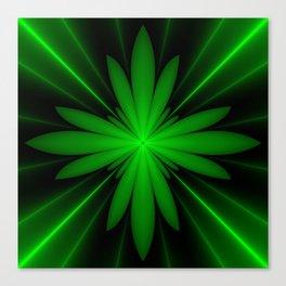 Neon Green Flower Fractal Canvas Print