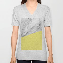 Marble and Yellow Color Unisex V-Neck