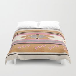 Rustic Tribal Pattern in Raw Sienna, Strawberry and Ash Duvet Cover