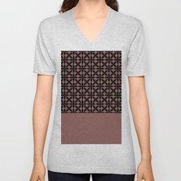 Black Square Petals Graphic Design Pattern on PPG Fire Weed Unisex V-Neck