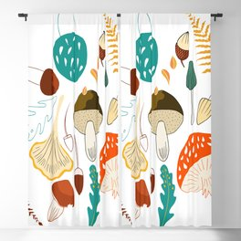 Mushrooms and leaves in autumn Blackout Curtain