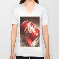 coca cola V-neck T-shirts featuring Coca Cola by MarianaManina