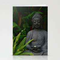 outdoor Stationery Cards featuring Outdoor Buddha Statue by Tianna Chantal