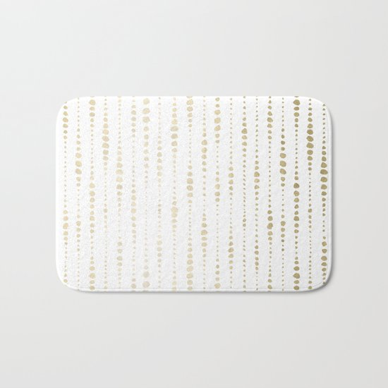 NYC Nights Gold Polka Dot Stripes Bath Mat