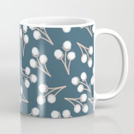 Sweet Cotton Stems Botanical Pattern in White, Pale Blush, and Deep Teal Coffee Mug