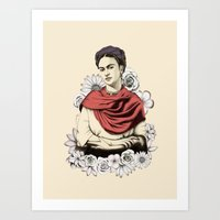 frida kahlo Art Prints featuring Frida Kahlo by Juan Rodriguez Cuberes