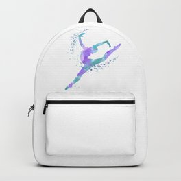 Girl Gymnastics Colorful Watercolor Silhouette Backpack