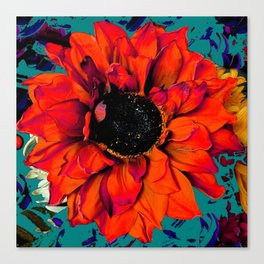 Orange Sunflower & Teal Contemporary Abstract Canvas Print