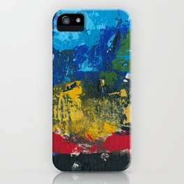 Lucas Abstract Painting Blue Black Yellow iPhone Case