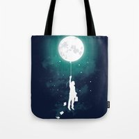 stars Tote Bags featuring Burn the midnight oil  by Picomodi