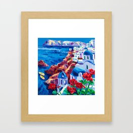 Santorini churches Framed Art Print