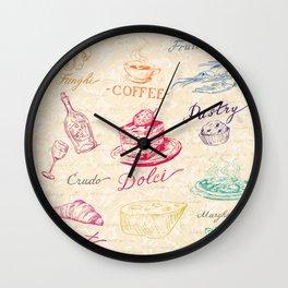 Chef Food Coffee Wine Wall Clock